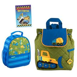Stephen Joseph Boys Quilted Construction Backpack and Lunch
