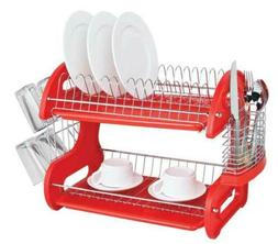 Home Basics Red 2 Tier Plastic Kitchen Space Saver Dish Dryi