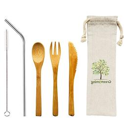 Reusable Bamboo Utensils Cutlery for Kids - 6 inch Travel Se