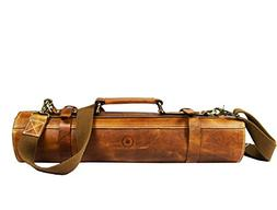 Leather Roll Knife Storage Bag | Elastic and Expandable 10 P