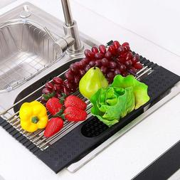 Roll-Up Dish Drying Rack Over The Sink , with Utensil Holder