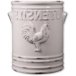 Home Essentials Rooster Utensil Crock, Ivory, 6.25L X 5.70W
