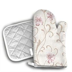 TRENDCAT Rose Floral Wallpaper Oven Mitts and Potholders  -
