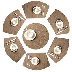 SHACOS Round Table Placemats Set of 7 Woven Vinyl Wedge Plac