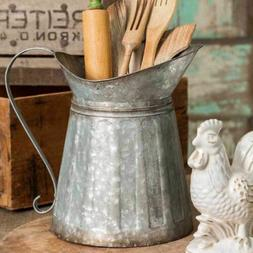 Rustic Galvanized Metal Milk Pitcher Country Farmhouse Kitch