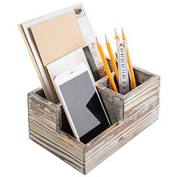 MyGift Rustic Torched Wood 3-Compartment Desktop Organizer