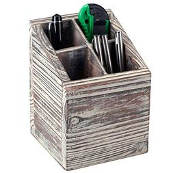 Rustic Torched Wood 4 Slot Pen Pencil Holder, Square Desktop