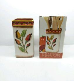 Clay Art Santiago Utensil Holder Peppers  Hand Painted Potte