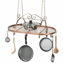 Scrollwork Metal Ceiling Hanging Kitchen Rack Pots Pans Uten