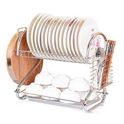S Shape Dish Rack and Dryer Drainboard Set Stainless Steel D