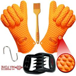 Silicone BBQ Gloves Pair 1 Meat Claw 1 BBQ Brush Strong Heat