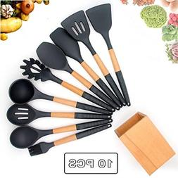 Silicone Cooking Utensil Set with Holder for Non-stick Cookw