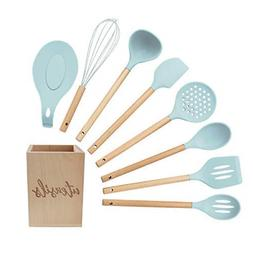 Silicone Cooking Utensils Set Turquoise Kitchen Set With Hol