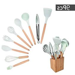 Silicone Cooking Utensils with Bamboo Holder, Kitchen Utensi