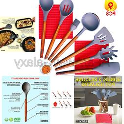 Silicone Kitchen Utensils Set with Pot Holder - Acacia Wood