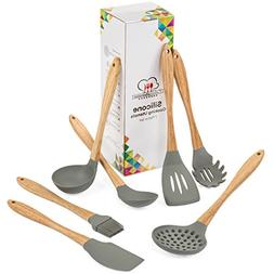 Silicone Cooking Utensils - 7 Piece Kitchen Utensil Set with