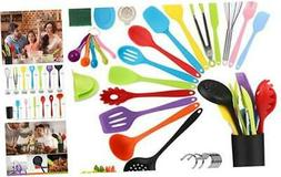Silicone Kitchen Utensil Set, 34pcs Colorful Cooking Utensil