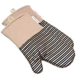 Silicone Oven Mitts 464 F Heat Resistant Potholders Striped