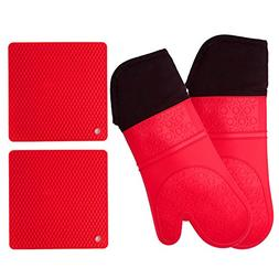 Silicone Oven Mitts and Potholders  Heavy Duty Cooking Glove