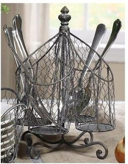 Utensil Holder Silver Wire Kitchen Dining Table Metal Rustic