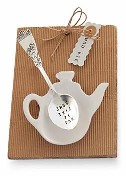 Mud Pie Some Like It Hot Tea Pot and Spoon, Silver