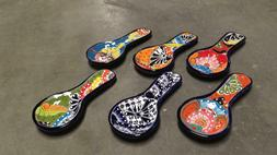 Spoon Rest Ceramic Mexican Utensil Holder Colorful Kitchen T