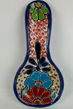 Spoon Rest Utensil Holder Mexican Talavera Ceramic Pottery H