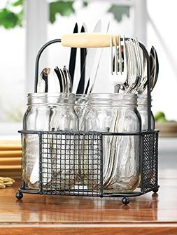 Square 4 Sectional Flatware Caddy- 4 Durable Mason Jars in W