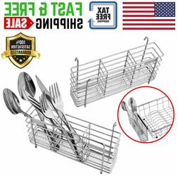 Stainless Steel Utensil Drying Rack Basket Holder 3 Compartm