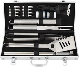 ROMANTICIST 20pc Stainless Steel BBQ Grill Tool Set for Men