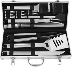 POLIGO 20pcs Stainless Steel BBQ Grill Tools Set - Complete