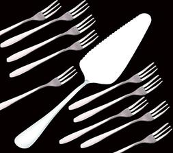 C&L 10 Pack Stainless Steel Forks & 1 x Pie Server Cake Hold
