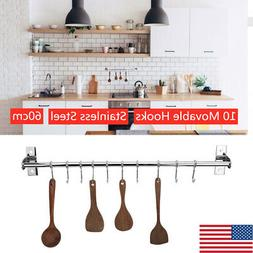 Stainless Steel Kitchen Rail Rack Wall Mounted Utensil Stora