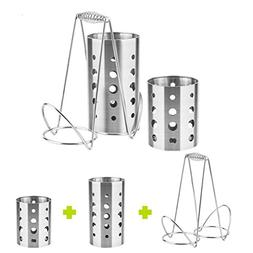 Daycount Stainless Steel Kitchen Utensil Holder Large 2 Comp