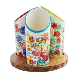 The Pioneer Woman Floral Medley 3-Compartment Utensil Holder