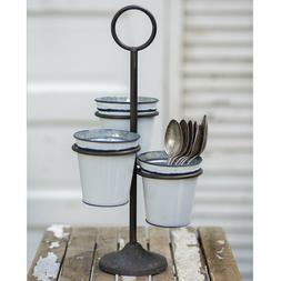 Three Bucket Stand Cast Iron & Enamelware Caddy / Utensil Ho