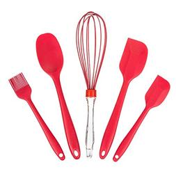 TKH Silicone Bakeware Utensils Sets, 5-Piece Spatulas, Whisk