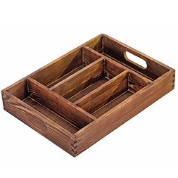 Torched Wood 5 Compartment Tabletop Organizer Storage Tray,