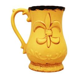 Tuscany Fleur De Lis Collection, Hand Painted Ceramic Yellow