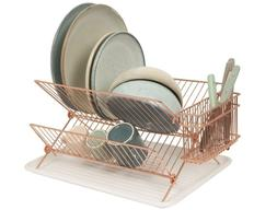 Two Tier Dish Rack Drying Collapsible 2 Tiers Copper Plated