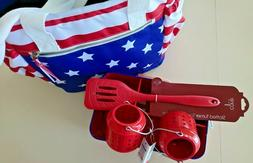 USA Flag Stars utensil holder, metal lanterns,spatula & cool
