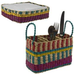 2pc Utensil Caddy & Cocktail Napkin Holder Set Table Silverw