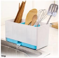 Utensil Holder Rack Sponge Basket Wash Dry Shelf Cutlery Dra