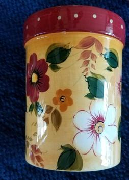 Utensil Holder Sunset Bouquet Floral Yellow Red Green Vintag