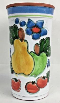 Utensil Holder Terracotta Clay Hand Made Painted 41/8''Openi