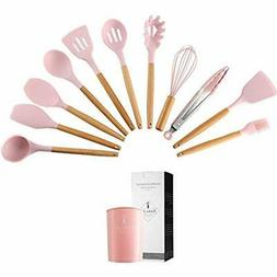 Silicone Utensil Sets Kitchen Set, 11 Pieces Cooking With Wo