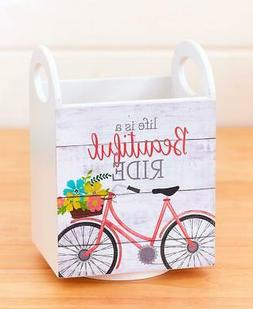 VINTAGE BICYCLE LIFE IS A BEAUTIFUL RIDE UTENSIL HOLDER KITC