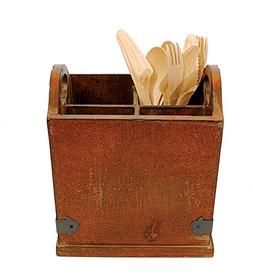 Vintage Style Wooden Cutlery Flatware Caddy