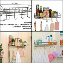 Wall Kitchen Spice Rack Organizer with Utensil Hooks Holder