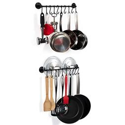 Wallniture Kitchen Cookware Organizer Rod with Hooks Painted